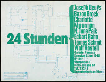 Green text over an architectural blue print on white paper; poster for a happening, 24 Stunden,...