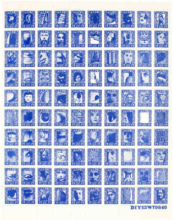 Sheet of 100 postage stamps.  Black printing on white, gummed, perforated paper.