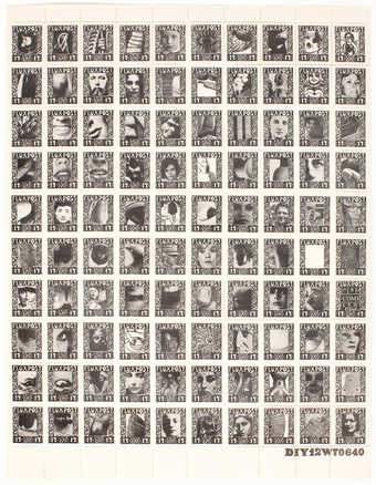 Blue print on white gummed, perforated paper.  Sheet of 100 postage stamps.