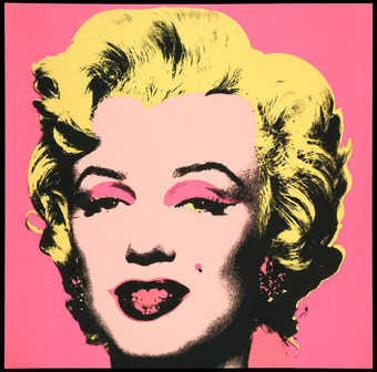 flesh face on bright pink background;  from a portfolio of 10 screenprints