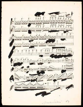 Page of pre-printed sheet music with ink additions, signed and dated by the artist.
