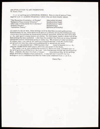 Letter from Flynt describing why he will no longer publish his writings in art magazines.