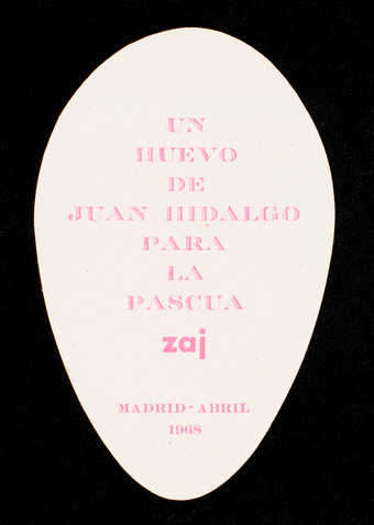 "(.1) Brown envelope; containing (.2)egg-shaped white card with pink print. Dated ""Madrid,..."