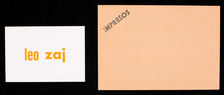 "(.1) Brown envelope with blue rubber stamp on front ""Impresos"" on reverse ""Juan..."