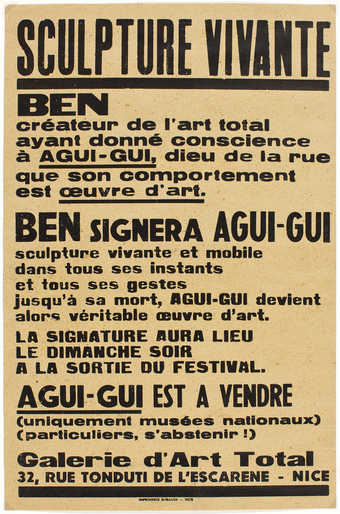 "Black letterpress on brown paper. Poster for event (""Ben will sign Agui-Gui"") during..."