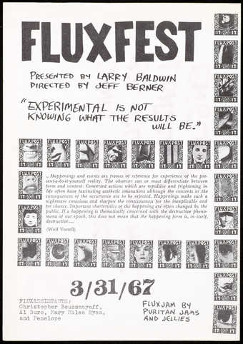 Black print on white paper;  folded in half; a program for Fluxfest, a festival organized by Jeff...