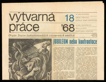 "Czech newspaper with part II of article by Vladimir Burda, ""Exil e utopie.""  A..."