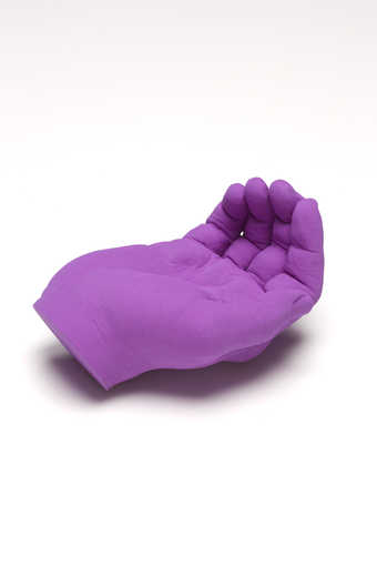A bright purple hand with palm upturned.