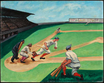 scene of a baseball game.