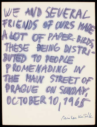 Handwritten text on white paper. Description of an event in Prague, Oct. 10, 1965.