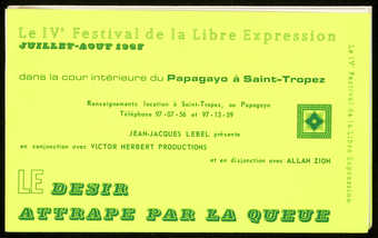 Green print on green/yellow fluorescent background; text is in French.  Announcement for an event...