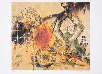 An image that refers Polke's Magic Latern series from 1988.  The print contains images of a...