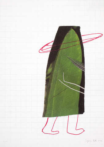 An image of a banana leaf cut to the shape of a skirt.  Drawn in red below skirt are two feet. ...