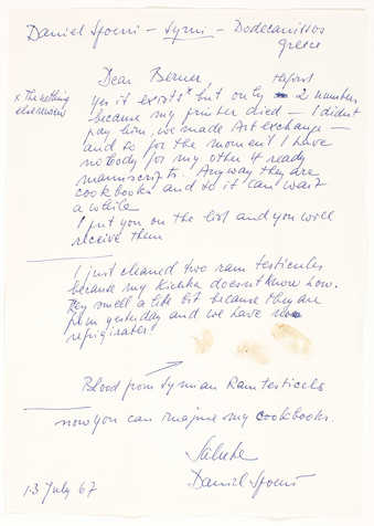Blue ink on white paper with 3 ram's blood fingerprints. Handwritten letter from Spoerri to...