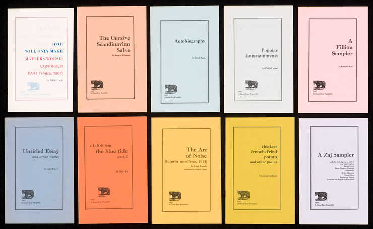 Second series of 10 pamphlets; black print on heavy stock paper of different colors;...