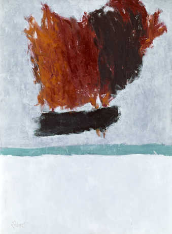 orange-red-black flame like form on grey modeled field top to middle of canvas. Blue line under...