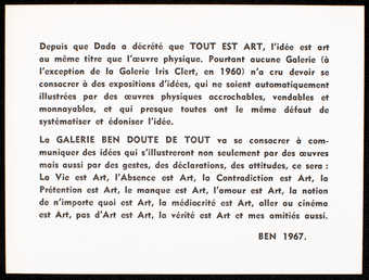 Black print on white card stock; printed on both sides. Text is in French. A postcard/essay.
