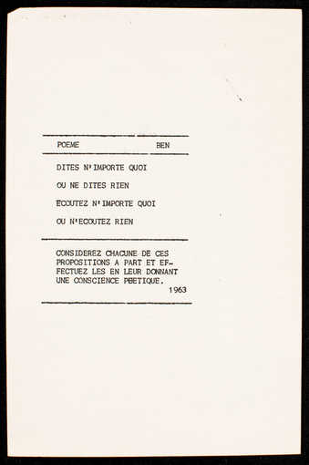 Black print on paper. The text is in French. A poem by Vautier.