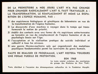 Black print on white card stock. Text is in French. A text describing necessary conditions for...
