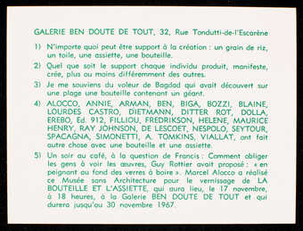 White card stock with green print.  Text is in French. Announcement/ invitation for an exhibition...