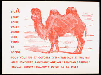 White card stock with red print, pictures a camel.  Text is in French. Invitation to an...