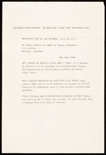 "Black print on white paper. Text is in French. A ""Bulletin of Information"" announcing..."