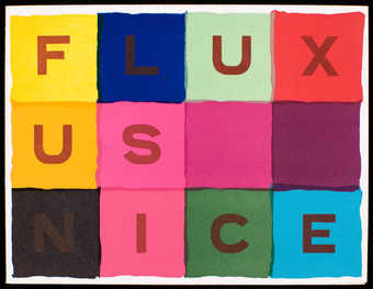 "Four color on front, text ""Fluxus Nice."" Inside, black print on white card stock;..."