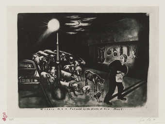 A black and white image of a man carrying a McDonalds bag followed by a group of animals.