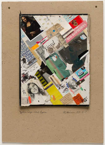 Collage of various photos, matchbooks, tickets, etc. mounted on cardboard.