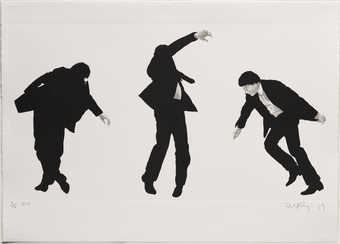Three views of three suited men in different stages of falling.  Faux plate marks surround each...